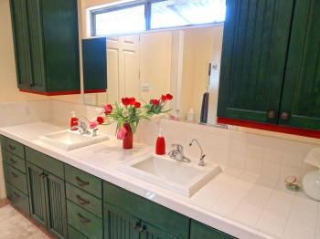 Double sinks, each with reverse osmosis water fountains.