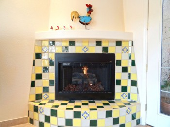 Mexican tile on this gas fireplace make it both beautiful and functional