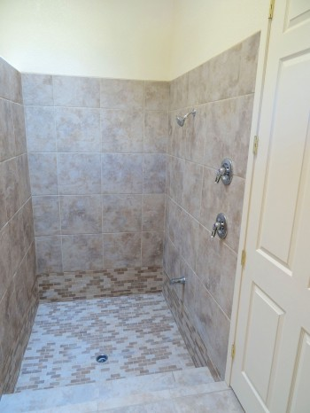 Huge walk-in sunken tile shower!