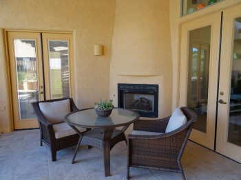 Enjoy a romantic dinner in front of this outdoor fireplace!